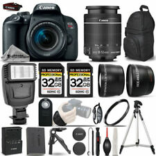 Canon EOS Rebel T7i SLR Camera 800D + 18-55mm IS-3 Lens Kit + Flash+ 64GB &MORE