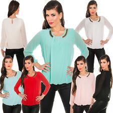 Hüftlang Damenblusen,-Tops & -Shirts mit Rundhals und Viskose für Business