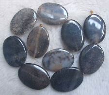 """30x40mm Black Dragon Veins Agate Flat Oval Loose Beads 15.5"""""""