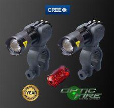 Opticfire Micro ZOOM CREE Q5 XP-E LED IMPERMEABILE LUCI BICI LUCE ANTERIORE + POSTERIORE