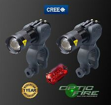 Opticfire Micro ZOOM CREE XP-E Q5 LED Waterproof bike lights head light + rear