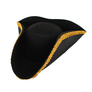 Black & Gold Tricorne Hat Colonial Pirate Costume Hat ADULT