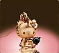 Hello Kitty 18K Black Diamond Pendant Necklace Pink Gold Fast Shipping Japan EMS