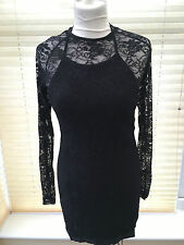Ann Summers Kisha Black See Through Front Lace Up Long Sleeved Dress UK SIZE 16
