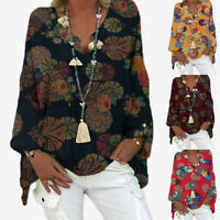 Women Vintage Floral Print V-neck Long Sleeve T-Shirt Loose Blouse Tunic Tops LB