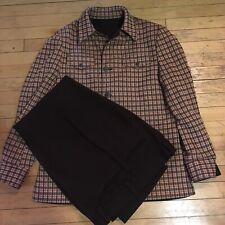 Vintage 70s Leisure Suit Reversible Jacket Size Large Plaid