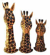 Giraffe Heads Mounts 3Pcs Wood Sculpture Statue African Art Handmade Safari