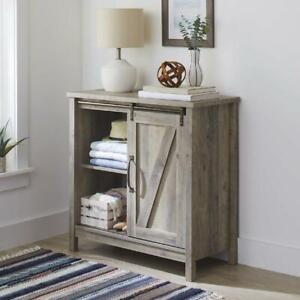 Storage Cabinet With Door Wood Modern Farmhouse Barn Accent Rustic Gray New