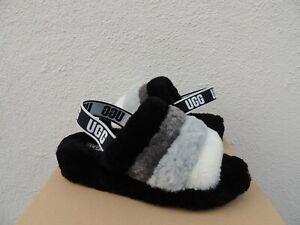 UGG BLACK MULTI FLUFF YEAH SLIDE SHEEPSKIN SLIPPER SANDALS, US 7/ EUR 38 ~NEW