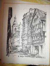 Planche de Robinne sur velin d'arches à la forme  : Rouen la maison ricouard