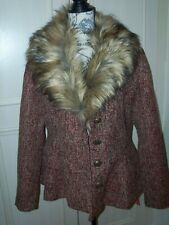 NEW JOE BROWNS Peplum Jacket With Detachable Faux Fur Size UK 14 - Multicoloured