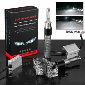 Fanless H3 LED Headlight Conversion Kit High Beam Low Beam 6000K White Lamp Bulb