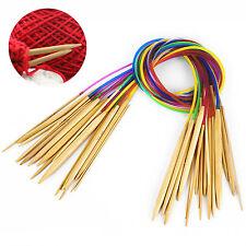 "18Pairs 18sizes 32"" 80cm New Tube Circular Bamboo Carbonized Knitting Needles"