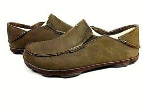 OLUKAI Men's Moloa Ray/Toffee Leather Slip-On Slippers US Size 10.5 M New