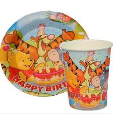 100pcs Winnie the Pooh Paper Plates + Cups Birthday Party Disposable Cake Pans