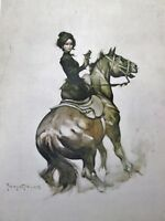VTG Frank Frazetta Art MADAME DERRINGER 1976 Cowgirl Horse Gun Side Saddle Sepia