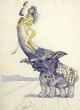Salvador Dali, Original Engraving from Illustre Casanova suite, rhinoceros, OBO