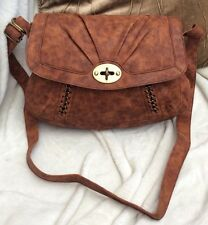 BNWT FAUX LEATHER BROWN SATCHEL CROSS BODY BAG RRP £30