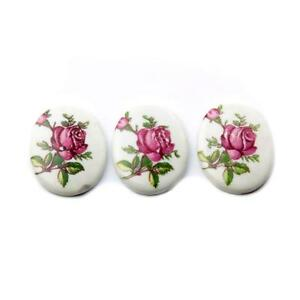 Lot (3) 25mm Czech vintage pink rose flower white porcelain cabochons