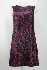 Diana Von Furstenburg Magenta Black Lace Shift Dress Size 12 UK/ 40 EU/ 8 US