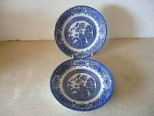 2 X ENGLISH IRONSTONE POTTERY SAUCERS OLD WILLOW MADE IN ENGLAND