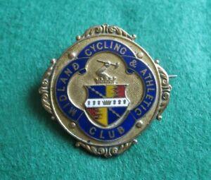 Vintage Gold Plated & Enamel Midland Cycling & Athletics Club Badge