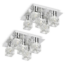 Pair of Modern Flush Silver Chrome  Glass Ice Cube 5 Way Ceiling Light Fittings