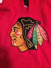 Chicago Blackhawks YOUTH BOYS Sweatshirt Medium Logo Pullover Hoody Red Reebok
