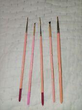 Vintage Jayne Houston China Painting 5 Brushes France Lot #1#3#4#5#6/0 Excellent