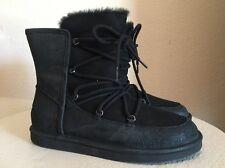 UGG Australia Womens Lodge Black Suede Sheepskin Black Lace-up Boots US 10 NEW!