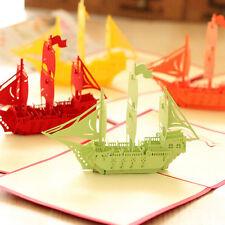 3D Pop Up Greeting Card Ship Birthday Good Luck Thank You Christmas
