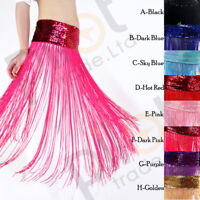 Belly Dance Long Fringe Tassel Skirt Sequins Shiny Chain HiP Scarf Belt