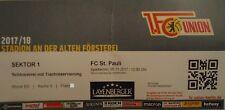 VIP TICKET 2. BL 2017/18 FC Union Berlin - FC St. Pauli