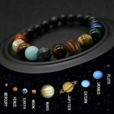 Eight Planets Bead Bracelet Men Women Natural Stone Universe Yoga Chakra Bangle.