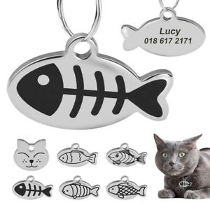 Cat Head/Fish Shape Engraved Cat Tags Small Personalised Kitten Pet ID Name Tag