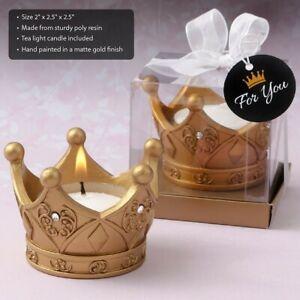 25 Royal Gold Crown Tea Light Candle Wedding Bridal Shower Party Favors