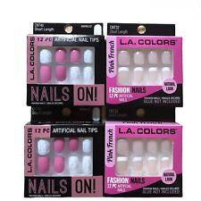 (4) LA Colors Glam Fashion Nails Artificial Fake Nails Pink White Short Length