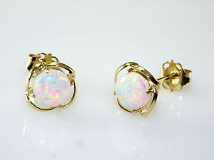 585 Gold Ohrstecker 7,3 mm Größe mit echten Opalen   Opalgröße 5 mm 1 Paar