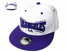 Basecap Baseball SNAP BACK CAP Weiß Lila Los Angeles Fittet Damen Herren LA 5