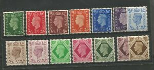 GREAT BRITAIN GEORGE VI 1937 FINE LIGHTLY MOUNTED MINT DEFINITIVE SET TO 1/-