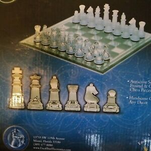 Classic Chess With Glass Board, Clear, Frosted Pieces Game Set