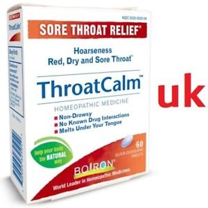 Boiron ThroatCalm SORE THROAT RELIEF Tablets - Natural Safe Infection Treatment