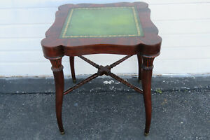 Flame Mahogany Leather Top Side End Table 9748