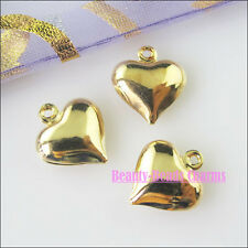 25 New Charms Heart Champagne Gold Pendants for DIY Crafts 11.5x13mm