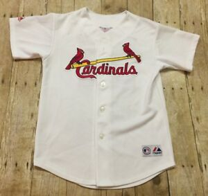 St Louis Cardinals Jersey David Eckstein Sewn MLB White Youth Medium Womens XS
