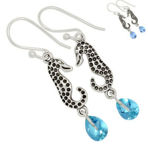 Sea Horse - Colorchange Alexandrite (Lab.) 925 Silver Earrings Jewelry BE56720