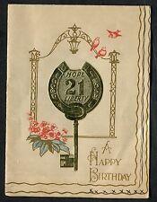 C1950's Illustrated 21st Birthday Card - Hope & Liberty - Key