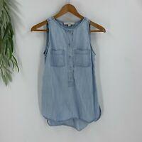 Ann Taylor Loft Chambray Shirt Size XS Tank Top Blue Sleeveless Popover Denim