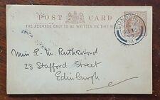 1899 Pre Paid Postcard Rutherford, Stafford St., Edinburgh - Skeffington & Son