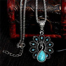 Wholesale Peacock Turquoise Stone Crystal Vintage Women Sweater Chain Necklace